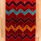 アマレ・玄関マットサイズ・赤色、ジグザグ、鹿、花・真上画