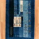 アマレ・玄関マットサイズ・青色、鹿、木、花・真上画