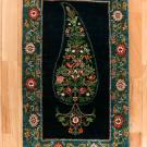 ルリバフ・玄関マットサイズ・緑色、紺色・糸杉、ペイズリー、パロメット文様・真上画