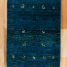 アマレ・玄関マットサイズ・青色・鹿、木・真上画