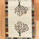 カシュクリ・88×62・白・原毛・生命の樹・パッチワーク・玄関マット・真上画