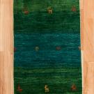 アマレ・玄関マットサイズ・緑色・鹿、花・真上画