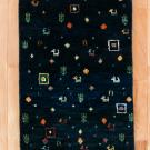 アマレ・玄関マットサイズ・紺色・鹿、花、菱形・真上画