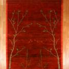 アマレ・大型ルームサイズ・赤色・生命の樹、鹿・真上画