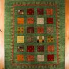 アマレ・大型ルームサイズ・緑色・格子状、鹿、花、木、人・真上画