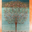 ルリバフ・大型ルームサイズ・青色、グラデーション・生命の樹・真上画