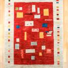アマレ・赤色・四角・生命の樹・ラクダ・羊・原毛・リビングサイズ・真上画