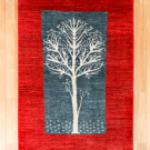 カシュクリ・センターラグサイズ・赤色、緑色・生命の樹・真上画