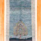 アマレ・センターラグサイズ・青色・生命の樹・真上画