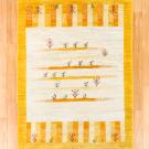 アマレ・センターラグサイズ・白色、黄色・草花、鹿・真上画