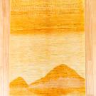 カシュクリ・センターラグサイズ・黄色・風景画・鹿・真上画