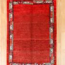 カシュクリ・センターラグサイズ・赤色・ボーダー・真上画