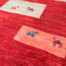 アマレ・赤色・四角・生命の樹・ラクダ・羊・原毛・リビングサイズ・アップ画