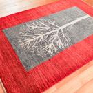 カシュクリ・センターラグサイズ・赤色、緑色・生命の樹・使用イメージ画
