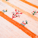 アマレ・センターラグサイズ・白色、黄色・草花、鹿・アップ画