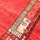 カシュクリ・センターラグサイズ・赤色・ボーダー・アップ画