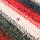 カシュクリ・玄関マットサイズ・カラフル・ストライプ・鹿、花・アップ画