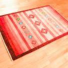 アマレ・玄関マットサイズ・赤色・ストライプ・菱形・使用イメージ画