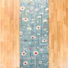 アマレ・245×81・水色・花・キッチンマットサイズ・廊下敷き・真上画