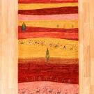 カシュクリランドスケープ・200×79・赤色・ラクダ・風景・木・キッチンマット・廊下敷き・真上画