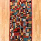 カシュクリ・244×82・赤色・カラフル・小花柄・パッチワーク・廊下敷き・キッチンマット・真上画