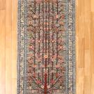 ルリバフ・202×85・グレー・原毛・生命の樹・キッチンマット・廊下敷き・真上画