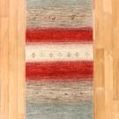 カシュクリ・291×69・赤色・水色・原毛・木・羊・キッチンマット・廊下敷き・真上画