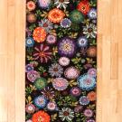 ルリバフ・215×80・花・カラフル・キッチンマット・廊下敷き・真上画