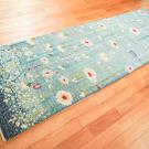 アマレ・245×81・水色・花・キッチンマットサイズ・廊下敷き・使用イメージ画