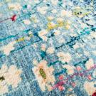 アマレ・245×81・水色・花・キッチンマットサイズ・廊下敷き・アップ画