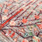 ルリバフ・202×85・グレー・原毛・生命の樹・キッチンマット・廊下敷き・アップ画