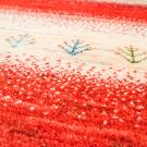 カシュクリ・291×69・赤色・水色・原毛・木・羊・キッチンマット・廊下敷き・アップ画