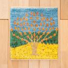 アマレランドミニ大・45×41・水色・生命の樹・黄色・緑・真上画
