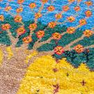 アマレランドミニ大・45×41・水色・生命の樹・黄色・緑・アップ画