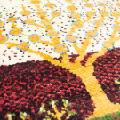 アマレランドミニ・39×37・白色原毛・生命の樹・ミニギャッベ・アップ画