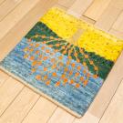 カシュクリミニ大・47×47・生命の樹・水色・黄色・ミニギャッベ・使用イメージ画