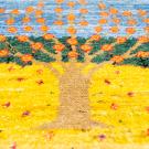 カシュクリミニ大・47×47・生命の樹・水色・黄色・ミニギャッベ・アップ画