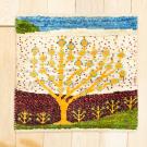 アマレランドミニ・36×39・白色原毛・生命の樹・ミニギャッベ・真上画