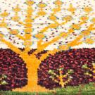 アマレランドミニ・36×39・白色原毛・生命の樹・ミニギャッベ・アップ画