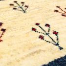 アマレミニ・37×39・白色原毛・生命の樹・青色・ミニギャッベ・アップ画