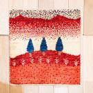 アマレランドミニ大・45×43・赤色・糸杉・白色原毛・ミニギャッベ・真上画