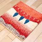 アマレランドミニ大・45×43・赤色・糸杉・白色原毛・ミニギャッベ・使用イメージ画