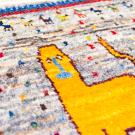 カシュクリミニ・42×39・茶色原毛・黄色・ライオン・羊・ペイカン文様・ミニギャッベ・アップ画