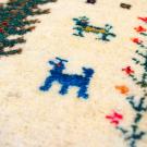 アマレランドミニ・38×38・白色原毛・水色・羊・生命の樹・ミニギャッベ・アップ画