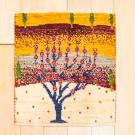 アマレランドミニ・43×39・黄色・赤紫色・生命の樹・ミニギャッベ・真上画