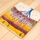 アマレランドミニ・43×39・黄色・赤紫色・生命の樹・ミニギャッベ・使用イメージ画