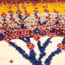 アマレランドミニ・43×39・黄色・赤紫色・生命の樹・ミニギャッベ・アップ画