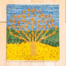 アマレランドミニ大・45×42・黄色・水色・生命の樹・ミニギャッベ・真上画