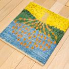 アマレランドミニ大・45×42・黄色・水色・生命の樹・ミニギャッベ・使用イメージ画