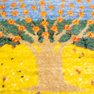 アマレランドミニ大・45×42・黄色・水色・生命の樹・ミニギャッベ・アップ画